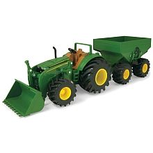 """John Deere - Monster Treads Tractor with Wagon and Loader - Tomy - Toys""""R""""Us John Deere Toys, John Deere Tractors, Tomy Toys, Sports Games For Kids, Toys R Us Canada, Farm Toys, Tractor Supplies, New Trucks, Kids Toys"""