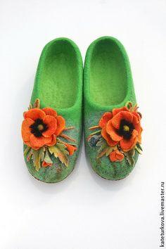 """Обувь ручной работы. Ярмарка Мастеров - ручная работа Тапочки """"Oriental poppy """". Handmade."""