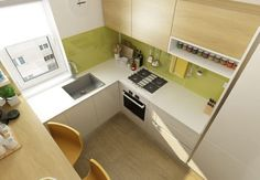 How to make a small kitchen 6 square meters in Bucharest Modern Kitchen Cabinets, Kitchen Cabinet Design, Kitchen Interior, Kitchen Dining, Kitchen Decor, Kitchen Ideas, Bedroom Pictures, Home Kitchens, Corner Desk