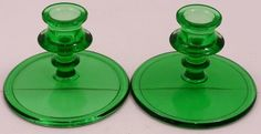 "Set of 2 Short Green Glass Candlestick Holders 4 3/4"" Wide Base"