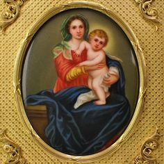Antique Miniature Painting Madonna and Child - Firenze Porcelain Plaque  Dore Bronze Frame