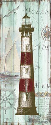RB9405TS<br>Antique La Mer Lighthouse Panel II <br> 8x20