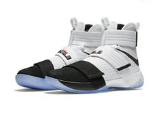 "LeBron Jame's Nike Zoom LeBron Soldier 10 gets a ""Black Toe"" colorway with a Nov. Nike Kd Shoes, Nike Shoes Outlet, Running Shoes For Men, Sneakers Nike, Nike Socks, Lebron James, Girls Basketball Shoes, Basketball Stuff, Football Shoes"