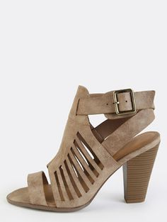 Open Toe Stacked Heel Ankle Booties TAUPE
