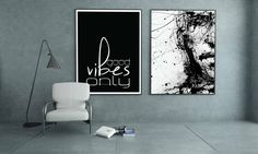 Good Vibes Only Print, gift for coworker, Inspirational typography Poster, Good vibes only Wall Decor, Black and white art, coworker gift by artRuss on Etsy