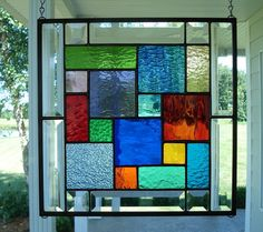 Stained Glass Window Panel Multi Colors & Bevels Made to Order Please allow 6 weeks ****Size: 12 x 12 This stained glass window panel Stained Glass Designs, Stained Glass Panels, Stained Glass Projects, Stained Glass Patterns, Leaded Glass, Stained Glass Art, Mosaic Glass, Stained Glass Window Hangings, L'art Du Vitrail