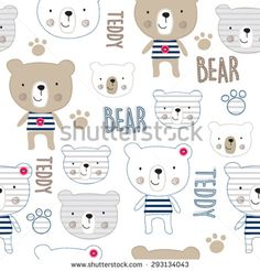seamless pattern with teddy bear vector illustration - stock vector