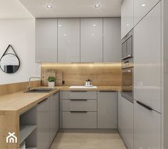 Pastele i złoto - zdjęcie od Idea by Mag. Simple Kitchen Design, Kitchen Room Design, Kitchen Cabinet Design, Kitchen Layout, Home Decor Kitchen, Interior Design Kitchen, Modern Kitchen Interiors, Modern Kitchen Cabinets, Cuisines Design
