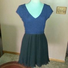 """Cute Dress Blue cotton dress with black lace bottom elastic waist V neck line front and back is lined 32""""long from urban outfitters Pins & Needles Dresses"""