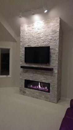 Home Renovation Fireplace Fireplace facing project Fireplace Facing, Living Room Decor Fireplace, Fireplace Tv Wall, Build A Fireplace, Basement Fireplace, Family Room Fireplace, Fireplace Built Ins, Fireplace Remodel, Modern Fireplace