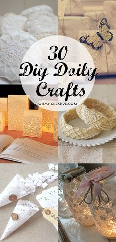 30 DIY Doily Crafts - The DOILY has endless DIY craft uses! What makes them great is the many shapes and patterns.each one so pretty! Of course they are perfect for anything vintage!COM diy crafts Paper Doily Crafts, Doily Art, Doilies Crafts, Paper Doilies, Fabric Crafts, Easy Diy Crafts, Hobbies And Crafts, Creative Crafts, Crafts To Make
