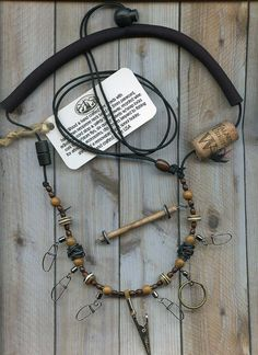 Fly Fishing Lanyard with Bone and Wood Beads on Black Cord