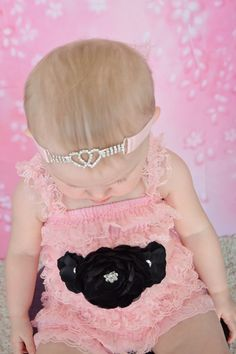 3 Piece Pink and Black Romper Sash and Headband by krystalhylton