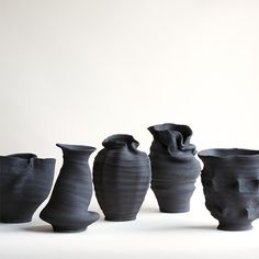 idreamcreateandadmire: Black Stoneware Vases |...