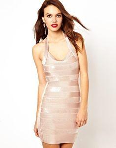 French Connection Sequin Stripe Halter Neck Dress
