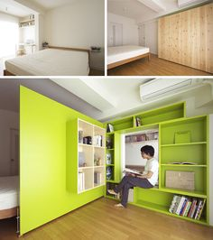 fold-open wall creates a separation between a small reading-and-study-space and the larger zone of a surrounding bedroom.  When shut, the shelves blend like built-ins and keep the secret of the other space. Awesome.