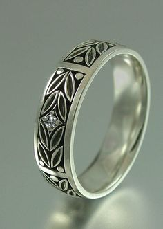 EVERGREEN LAUREL silver band with white sapphire by WingedLion