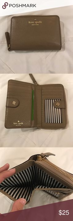 Small Kate Spade Leather Wallet Small Kate Spade leather wallet in taupe. Snap closure with individual card lots, id slot, and bills can lay flat. Back zipper opens to an accordion style card holder. kate spade Bags Wallets