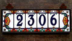 Individual Hand Glazed Ceramic Tile House & address left deco end cap - Today Pin Tile House Numbers, House Address Numbers, Address Plaque, Glazed Ceramic Tile, Glazed Tiles, Tile Murals, Decorative Tile, Custom Homes, Royal Blue
