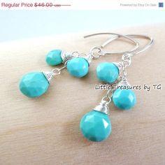 SALE Sleeping Beauty Turquoise Dangle earrings. Drop earrings. Cluster earrings. Blue Turquoise Birthstone earrings. Etsy Mother's day