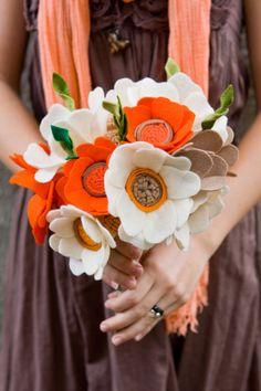 Wedding Wildflower Felt Bouquet - Alternative Wedding Flowers - Orange and Ivory - Felt -. $167.00, via Etsy.