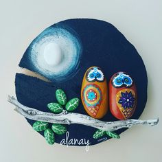 Moon-stone and stone owls