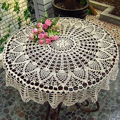 Modern Style Floral Pattern Cotton Table Cloth – USD $ 14.99