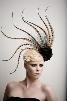 Okay, this is cool: Pheasant Tale Fashion  Headpiece - Fascinator-cocktail hat. $175.00, via Etsy.