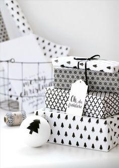 monochrome black and white wrapping paper for a minimalist look