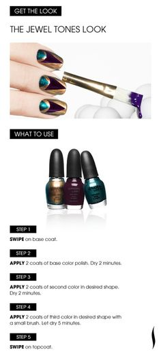 Learn How: The Jewel Tones Look. Shades: #SEPHORA by OPI Age Is Just A Number, Caffeine Fix and Teal We Meet Again. #Nailspotting #NailArt #nailcolour