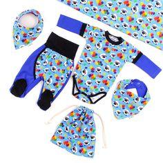 Bunte und lustige Motive lassen die Kinderherzen höher schlagen: Unglaublich süß, farbenfroh und voller guter Laune :) Baby Outfits, Sewing For Kids, Kind Mode, Design, Kid Outfits, Baby Coming Home Outfit