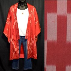 Vintage Japanese Womans Kimono - Taisho Ikat Modified Kimono Robe great for poolside, beach wear, cruise wear! A red silk kimono with a pink ikat design of crosses. A few interesting details on this robe make it stand out from the rest. The red lining and the quality of the silk