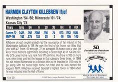 1992 SmithKline Beecham MVPs for MDA #6 Harmon Killebrew Back