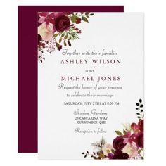 Elegant Burgundy Floral Wedding Invitation - wedding invitations diy cyo special idea personalize card #weddinginvitation