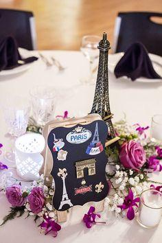 Centrotavola per matrimonio a tema viaggio con simboli di Parigi