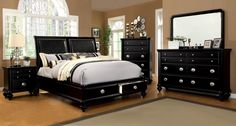 Laguna Hills Collection Black Finish with Solid Woods and veneer. Modern Platform bed with Storage. Great addition to master Bedroom.