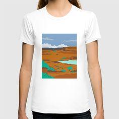Columbian Basin Desert Scene Retro T-shirt. WPA style illustration of a columbian basin desert or arid steppe with water basin lake scenery set inside rectangle shape. #illustration #ColumbianBasinDesertScene