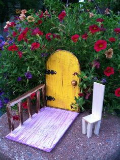 Garden Fairy Door Magic Fantasy distressed yellow by WoodenBLING