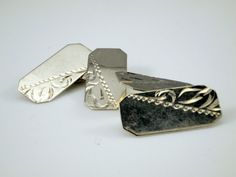 Vintage Silver Cufflinks  1980s Mens Cuff by BelmontandBellamy
