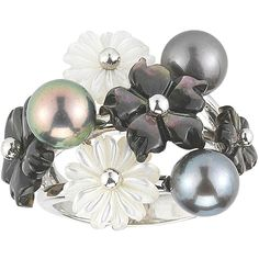 Black Cultured Freshwater Pearl & Tahitian Pearl Ring (£220) ❤ liked on Polyvore featuring jewelry, rings, tahitian pearl ring, flower rings, tahitian pearl jewelry, fresh water pearl jewelry and flower jewelry