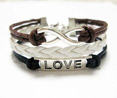 Infinity charm bracelet love charm bracelet braided by Carlydiy, $4.99