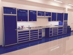 Moduline cabinets in an aircraft hanger. Blue Cabinets