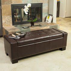 Jaxson Brown Leather Storage Ottoman w/ Nailhead Accent