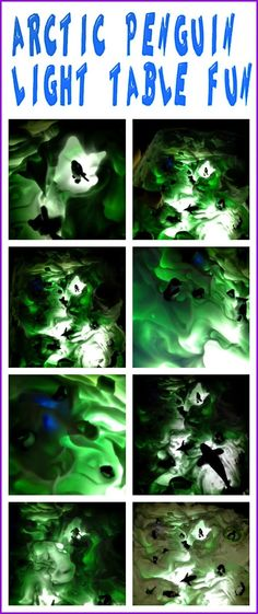 Arctic Penguin Habitat on the light table with the AWESOME combination of icy cold Aloe Vera Gel and Shaving Cream!!