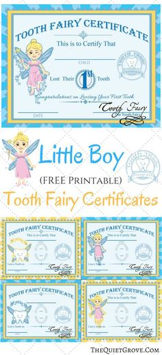 Love these Little boy Printable Tooth Fairy Certificates! Such a cute idea for when kids loose their teeth.