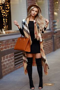 Over knee boots   black dress   scarf