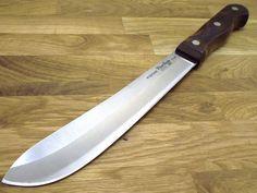 """vtg RAZOR SHARP Flint Forge USA new Butcher knife 8"""" blade Stainless G7497 wood #EKCO"""