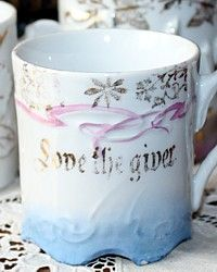 Antique Victorian Child's Love the Giver Pink & Blue Motto Cup-german, porcelain,gift, boy,gilt,birthday, girl,  floral, christmas, holiday, school,