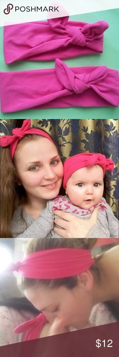 Mommy and Me Matching Headbands Brand new! Soft sand vibrantly colored these are perfect for you and your little one. Includes BOTH! Ships same day if ordered by 10:00 CST. Bundle 3 items for 15% discount and combined shipping. Accessories Hair Accessories