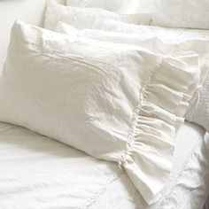 Dreamy White Linen Ruffle Pillowcase Luxury French Shabby Chic Style Bedding #LuxuryBeddingWhite